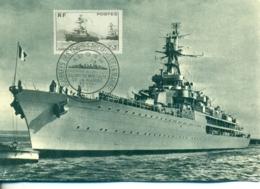 CM-Carte Maximum Card #France-1946 #(Yv.N° 752 )Guerre,Transports,croiseur,Jeanne D' Arc, Cruiser,obl. ADOSM Paris - 1940-49