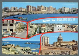 °°° Cartolina - Saluti Da Marsala Vedute Viaggiata °°° - Marsala