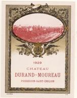 1 Etiquette Chateau Durand - Moureau 1929 Negoce - Etiquettes