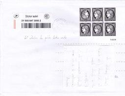 Lettre Avec Bloc De 6 Timbres Coin Daté - Marcophilie (Lettres)