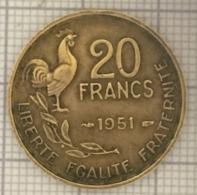 20 Francs, 1951, France, 4 Ième République - L. 20 Franchi