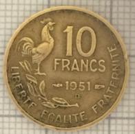 10 Francs, 1951 B, France, 4 Ième République - K. 10 Franchi