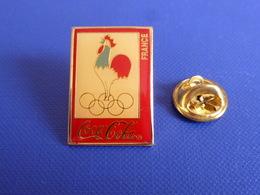 Pin's Coca Cola Coke - Albertville 92 ? - Jeux Anneaux Olympiques Hiver été Boisson Coq Sportif France (PH39) - Olympic Games