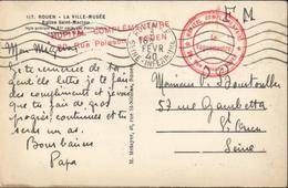 Guerre 39 45 FM Cachets Rouge Linéaire Et Rond Hôpital Complémentaire 20 Rue Poisson Rouen Le Vaguemestre CAD 3 FEV 40 - Marcophilie (Lettres)