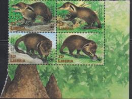 WWF - LIBERIA -  WWF / MONGOOSE  SET OF 4 IN BLOCK   MINT NEVER HINGED - Neufs