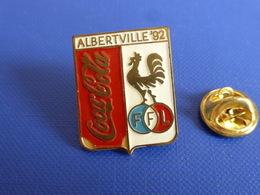 Pin's Coca Cola Coke - Albertville 92 FFL - Jeux Anneaux Olympiques Hiver été Boisson Coq Sportif France (PH46) - Olympic Games