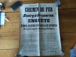 Affiche Departement De L Ain Chemin De Fer De Bourg à Besançon 24 Décembre 1861 - Posters