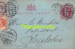 CPA LETTER CARD 1895 ONE PENNY ISERLOHN LONDON - 1840-1901 (Regina Victoria)