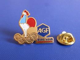 Pin's AGF Avec Vous Assurance - Albertville 92 - Jeux Anneaux Olympiques Hiver Coq Sportif France (PH34) - Olympic Games