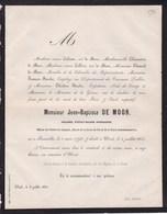 CROIX DE FER 1830 UCCLE DE MOOR Jean-Baptiste Colonel Pensionné 1798-1862 1er Grand Enterrement Civil Belgique CALOONE - Obituary Notices