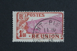REUNION 1928, SAINTE-ROSE ET LE VOLCAN Y&T NO 116  1.10fr ROUGE-BRUN ET LILAS-ROSE OBLI TB... - Réunion (1852-1975)