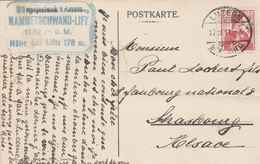 HELVETIA 10C SUR CPA BURBENSTOCK FELSENWEG CACHET LUZERN 17/9/1911 POUR STRASBOURG - Covers & Documents