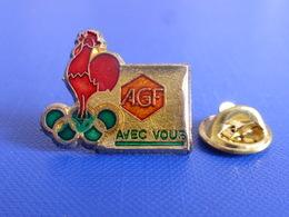 Pin's Epoxy Coq Rouge AGF Avec Vous Assurance - Albertville 92 - Jeux Anneaux Olympiques Hiver Coq Sportif France (PH41) - Olympic Games