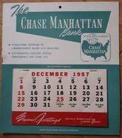 The CHASE MANHATTAN Bank Calendrier 1958 Complet De Ses éphémérides (à Parti De Déc. 1957) - Banque Américaine - Bank & Versicherung