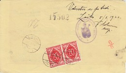 Slovenia SHS 1920 Postal Money Order With SHS Postage Due Stamp, Postmarks KRŠKO And LAŠKO - Slovenia