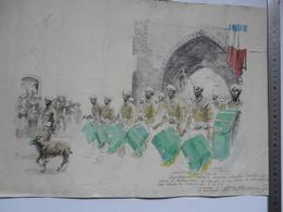 VIEUX PAPIERS - MILITARIA (dédicacé) : Dessin D'une Scène Animée - Défilé Du 4 ème Régiment De Tirailleurs Marocains - 1939-45