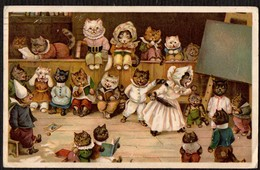 Katzen, Schule - Gelaufene Litho-AK 1916 - Chats