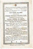 O.L.V. LOMBEEK - Franciscus Philippus CLAES - Burgemeester - Echtgen. Joanna DE SMEDT - Overleden 1855 - Images Religieuses