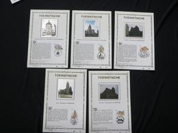 """BELG.1994 2561 2562 2563 2564 & 2565 : """" TOERISTISCHE """" NL.versie ,Luxe Kunstbladen Zijde , 200 Exemplaren Limiet - FDC"""