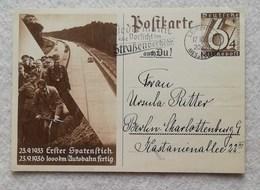 "Cartolina Postale ""23.9.1933 Erster Spatenstich - 23.9.1936 1000km Autobahn Fertig"" Da Leipzig Per Berlin 17/10/1936 - Enteros Postales"