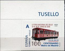 Espagne - 2019 - Centenaire Du Métro De Madrid Tusello émis Par L'A.N.F.I.L. - Eisenbahnen