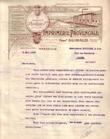 BOUCHES DU RHÔNE - MARSEILLE - ENTÊTE LITHOGRAPHIE - IMPRIMERIE PROVENCALE - FERDINAND GUIRAUD - LETTRE - 1923 - Imprimerie & Papeterie