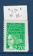 """FR Variété YT 3091a """" Luquet 2F70 Vert """" Neuf** Sans Phosphore - Variétés: 1990-99 Neufs"""