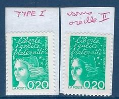 """FR Variété YT 3087 & 3087a """" Luquet 0.20F émeraude """" Neuf** Type I & Type II - Variétés: 1990-99 Neufs"""