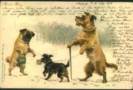 """1898, Hunde, Chien, Dogs, Gelaufen Ab LEIPZIG. """"Lith. Artist Anstalt München"""". Erh 1- - Perros"""
