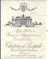 CHATEAU DE RESPIDE . LANGON . CLAUDE VERNET - Bordeaux
