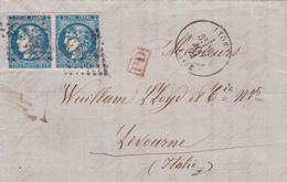 France - Y&T 46B En Paire à Destination De Livourne / Livorno - Italie - 1871 - 1849-1876: Période Classique