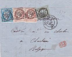 France - Y&T 50 + 51 X 2 + 60A Sur Pli De Charleville - Ardennes Vers Charleroi - Belgique - 1874 - Marcophily (detached Stamps)