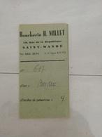 15680   FICHE BOUCHERIE H. MILLET SAINT MANDE - Visitenkarten