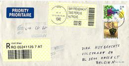 Österreich Austria 2003 Wien Family Bar Freigemacht Registered Cover Hasselt Belgie Afwezig Handstempel Besteller - Cartas