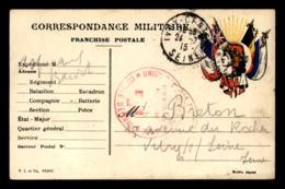 CARTE DE FRANCHISE MILITAIRE - 4 DRAPEAUX ET LA REPUBLIQUE- GUERRE 14/18 - Cartes De Franchise Militaire