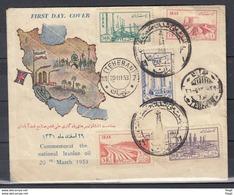 First Day Cover Teheran 20 III 53 Commemorat The National Iranian Oil - Iran