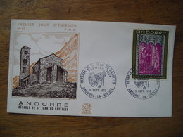 1972 Andorre FDC Premier Jour  N° 57 Rétable De St Jean De Caselles 0,30F - FDC
