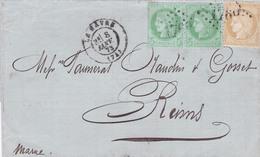 France - Y&T 53 En Paire + 55 Sur Pli - Le Havre Vers Reims - 1873 - Marcophilie (Timbres Détachés)