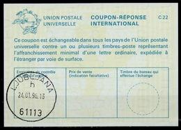 SLOVENIA / SLOVENIE / YUGOSLAVIA La25 International Reply Coupon Reponse IAS IRC Antwortschein O LJUBLJANA 24.01.96 - Slowenien