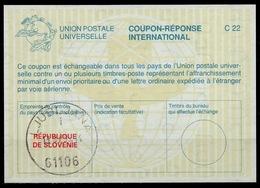 SLOVENIA / SLOVENIE / YUGOSLAVIA La26C International Reply Coupon Reponse IAS IRC Antwortschein O LJUBLJANA 13.9.95 - Slowenien