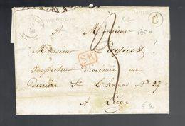 """Lac De Boite """" G """" écrite De Borsu ? 14 8 1845 / Nandrin ( Herlant Type 18 ) => Liège Griffe SR ( à Voir ) - Marcophilie"""