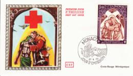 MONACO - 1972 - FDC - Enveloppe SOIE - CROIX-ROUGE Monégasque - Red Cross