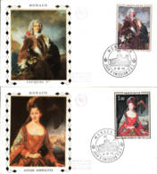 MONACO - 1972 - FDC - Lot De 2 Enveloppes SOIE - Prince Et Princesse De Monaco - FDC