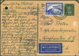 1928, Seltene Bedarfskarte Per ZEPPELIN Mit Viel Text Ab BERLIN über Friedrichshafen Nach New York - Allemagne