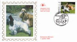 MONACO - 1999 - FDC - Enveloppe Soie - Exposition Canine Internationale - FDC