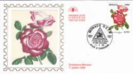 MONACO - 1999 - FDC - Enveloppe Soie - Roses - FDC