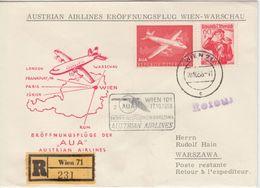 Österreich - AUA Firstflight Wien - Warschau 1958 Einschreibebrief - Luftpost