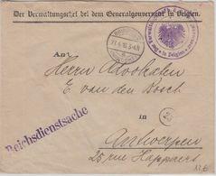 LP Belgien - Brüssel 1916 Reichsdienstsache N. Antwerpen - Guerre 14-18