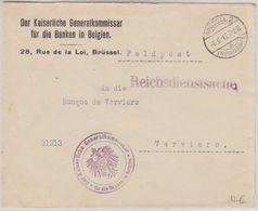 LP Belgien - Brüssel 1917 Reichsdienstsache Bankenkommissar N. Verviers - Guerre 14-18