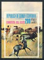 Guinée équatoriale 1974 Mi. Bl. 127 Bloc Feuillet 100% Neuf ** Les Indiens Chassent Le Buffle - Horses